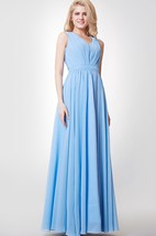 V-neck A-line Chiffon Long Bridesmaid Dress with Keyhole Back