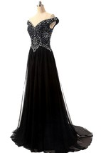 Off-the-shoulder A-line Chiffon Dress With Beaded Bodice
