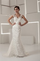Caped-Sleeve V-Neck Mermaid Dress with Lace and Beading