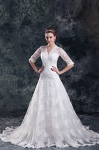 scalloped-neck a-line tulle lace dress with illusion half sleeves