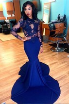 Delicate Royal Blue Lace Appliques Evening Dress 2016 Mermaid Long Sleeve