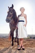 Strapless Empire Tea-Length Satin Wedding Dress With Sash And Bow