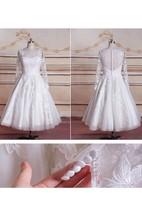 Tea-lengnth Long Sleeve Lace Dress With Button Zipper