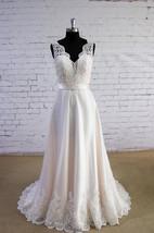 V-Neck Sleeveless Long A-Line Satin and Tulle Wedding Dress