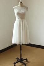 Mini Knee-Length Chiffon Lace Weddig Dress With Illusion