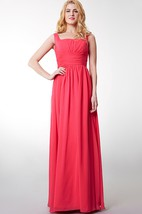 Squared Neckline Waist Gathered Chiffon Long Dress With Bandage