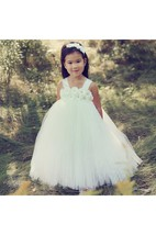 Simple Sleeveless Flower Bust Pleated Tulle Ball Gown