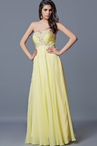 Elegant Strapless Chiffon Dress With Pleated Beaded Sweetheart Bodice