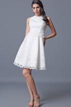 Jewel Neckline Short Satin Dress With Embroidery