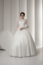 Bateau-Neck Long-Sleeve Ball Gown with Lace and Beading