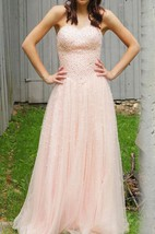 A-line Strapless Tulle&Lace Dress With Beading&Lace-up Back