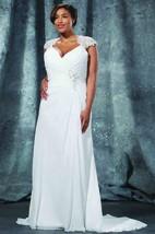 Sheath Long Queen Anne Chiffon Brush Train Illusion Draping Dress