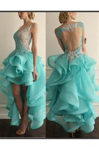 Sexy Hi-Lo Sleeveless Prom Dress With Appliques Ruffles