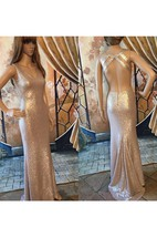V-neck Form Fitted Sequined Dress With Open Back
