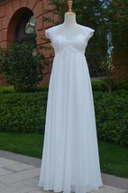 Queen Anne Cap Long Chiffon Wedding Dress With Pleats And Keyhole Back