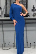 Cobalt Blue One Shoulder Long Dress