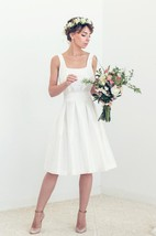 Short Silk Open Back Wedding Tory Wedding Dress