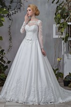Bateau Long Sleeve Satin A-Line Wedding Dress With Appliques And Illusion