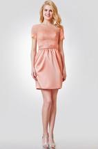 Illusion Short Sleeve Short Lace and Satin Dress