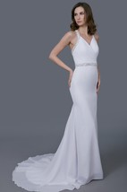 Classic Halter V-neck Chiffon Sheath Gown With Crystal and Pearl on the Straps