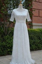 Jewel Long Tulle Wedding Dress With Ruching And Half Illusion Sleeve