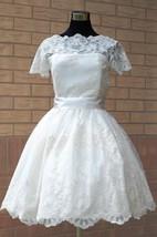 Scalloped Short Satin Wedding Dress With Sash And Illusion Sleeve