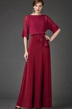 Bateau Neck Half Sleeve Chiffon Dress With Sash