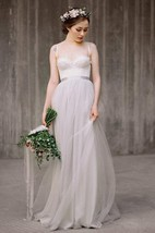 Chiffon Tulle Lace Satin Weddig Dress With Button