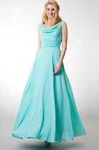 Draped Front Low-v Back Chiffon Gown With Ruched Waist