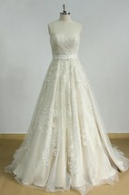 Aline Tulle Lace Wedding With Light Champagne Lining Dress