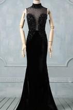 Black Prom Round Neck Prom Black Evening High Neck Formal Detachable Train Custom Size Dress