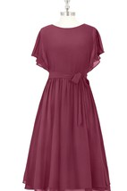 A-Line Chiffon Dress With Bateau Neckline and Bow Sash