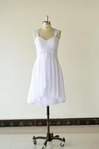 Strapped Chiffon Short Dress With Pleats