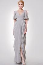 Deep-V Neck Long Formal Dress with Split Sleeves