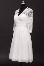 Scalloped Low-V Back Chiffon Wedding Dress With Ruching And Illusion Sleeve