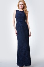 High Neck Long Lace Bridesmaid Dress with Keyhole Back