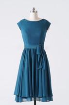 A-line Knee-length Cap Sleeve Chiffon Dress