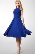 A-line High Neck Tea Length Bridesmaid Dress With Keyhole Back