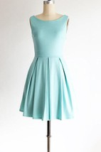 Vintage Pleated Open Back Dress With Bow
