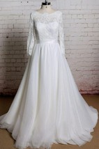 Bateau Neck Long Sheer Sleeve Wedding Dress With Simple Tulle Skirt