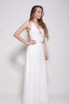 Chiffon Weddig Dress With Embroideries