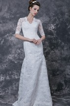 1920's Vintage-inspired Half Sleeves Back Keyhole Lace Gown Court Train
