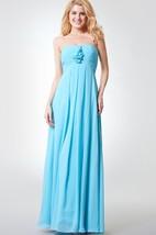 Strapless Pleated A-line Long Chiffon Dress