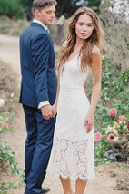 High-Low V-Neck Lace Satin Weddig Dress