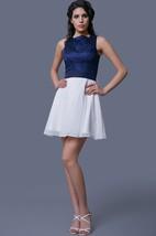 Lace and Chiffon Short A-Line Sleeveless Dress
