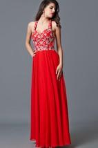Flattering Halter Neckline Formal Dress Jeweled Bodice Ethereal Airy Skirt