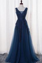 Sleeveless V-neck Long Beaded Tulle Dress