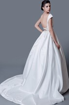 Glamorous Cap-sleeved Satin Gown With Crisscross and Scoop Neck