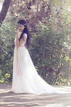 Boho Square Empire Backless Long Lace Wedding Dress With Sash And Flower