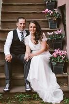 V-Neck Long Chiffon Wedding Dress With Sash And Crystal Detailing
